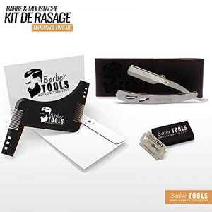 ✮ BARBER TOOLS ✮ Kit de rasage - acier inoxydable + 5 doubles lames + Peigne pochoir guide pour rasage de la marque BARBER TOOLS image 0 produit