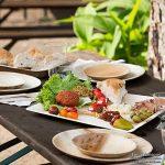 Haute qualité d'assiette en feuille de palmier kaufdichgrün | 200 pièces d'assiettes rectangle du feuille palmier 23 x 23 cm | Bio jetable vaisselle pour fête rapidement décomposable de la marque image 2 produit