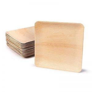 Haute qualité d'assiette en feuille de palmier kaufdichgrün | 200 pièces d'assiettes rectangle du feuille palmier 23 x 23 cm | Bio jetable vaisselle pour fête rapidement décomposable de la marque image 0 produit