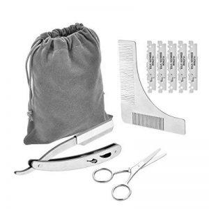 Inoxydable Barbe kit d'outils de coupe, Surge barbe Shaping Peigne, ciseaux et rasoir droit Y compris les lames 10pcs de la marque CUGLB image 0 produit
