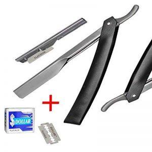 Rasoir droit + 10Lames jetables pour homme manuel Cheveux rasage coupe-gorge Open rasoir de barbier professionnel Noir de qualité de la marque MaxEquip image 0 produit
